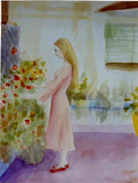 Cristina Alonso arte original acuarela chica con flores