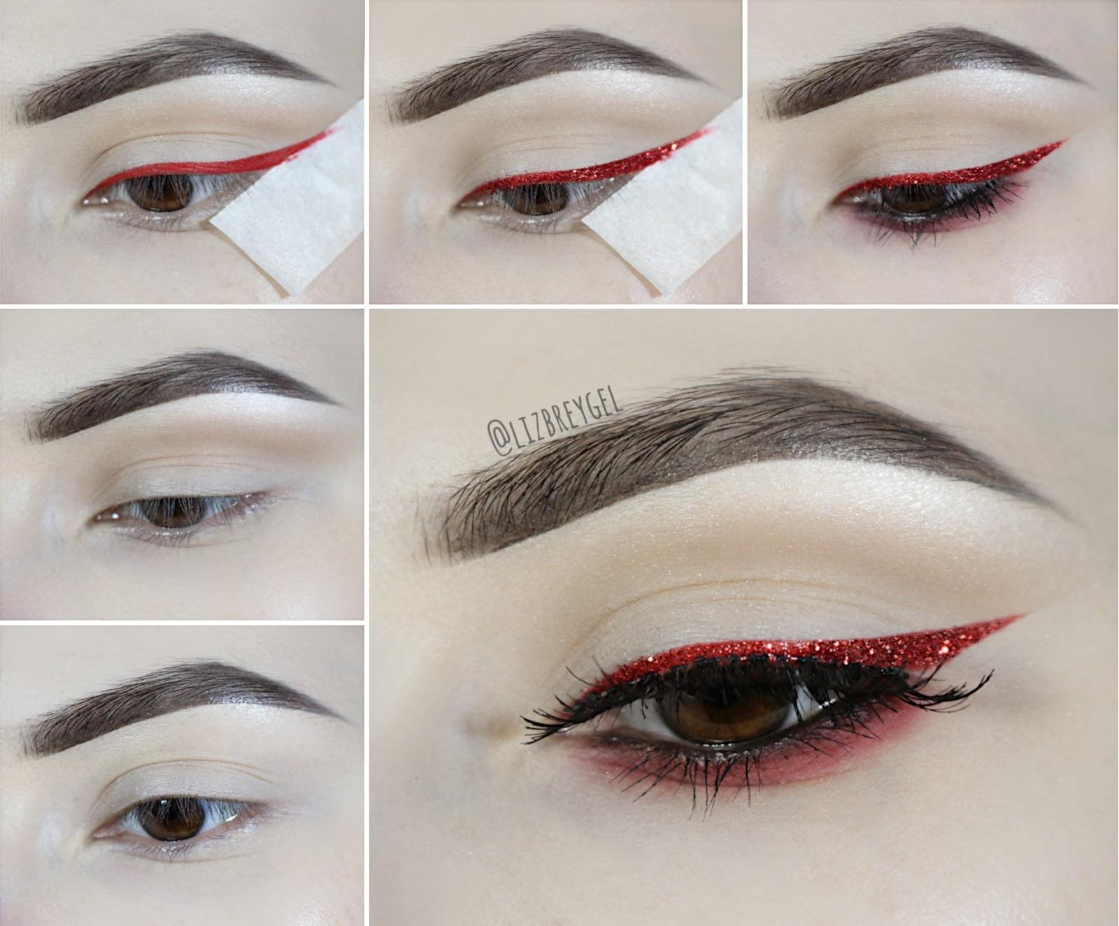 maquiagem festiva de natal vermelho passo a passo tutorial delineador glitter bloguiera