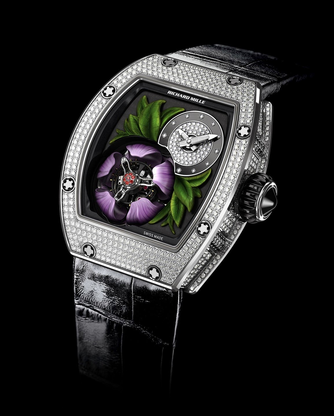 31003b966 To make this happen, the grade 5 titanium tourbillon caliber uses 5 levers  that surround the underside of the petals, with another system that uses a  long ...