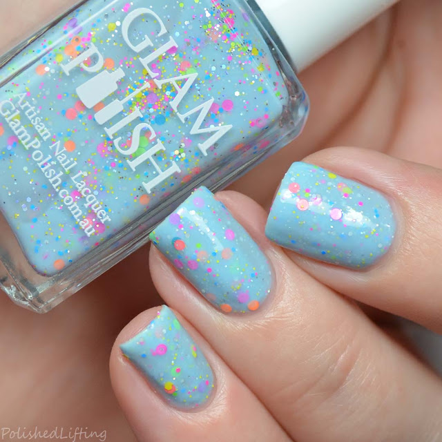 blue crelly glitter nail polish