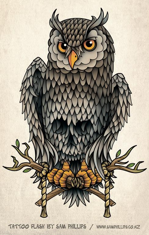 Conosciuto Tatuaggi di animali: Tatuaggi di gufi gratis TY83