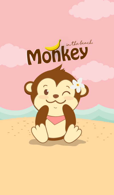 Monkey in the beach. (Pink ver.)