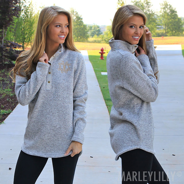 monogrammed charcoal heathered pullover tunic with leggings