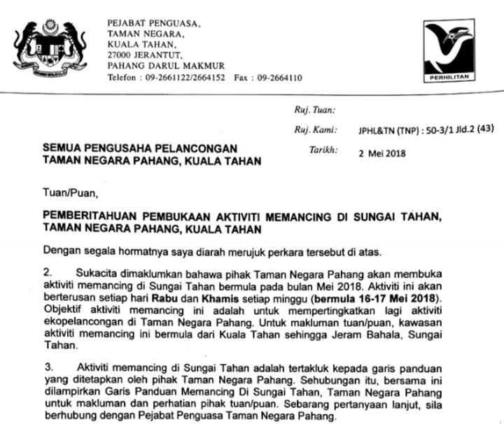 Surat Kebenaran Memancing Sungai Tahan oleh Jabatan Perhilitan