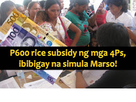 Members of Conditional Cash Transfer (CCT) or the Pantawid Pamilyang Pilipino Program (4Ps) will have another reason to rejoice this coming March.  It is because they will be receiving the first tranche of monthly rice subsidy earlier promised by President Rodrigo Duterte.