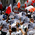 Bahraini people hold anti-regime demonstrations in solidarity with Shia Muslim cleric Sheikh Issa Qassim