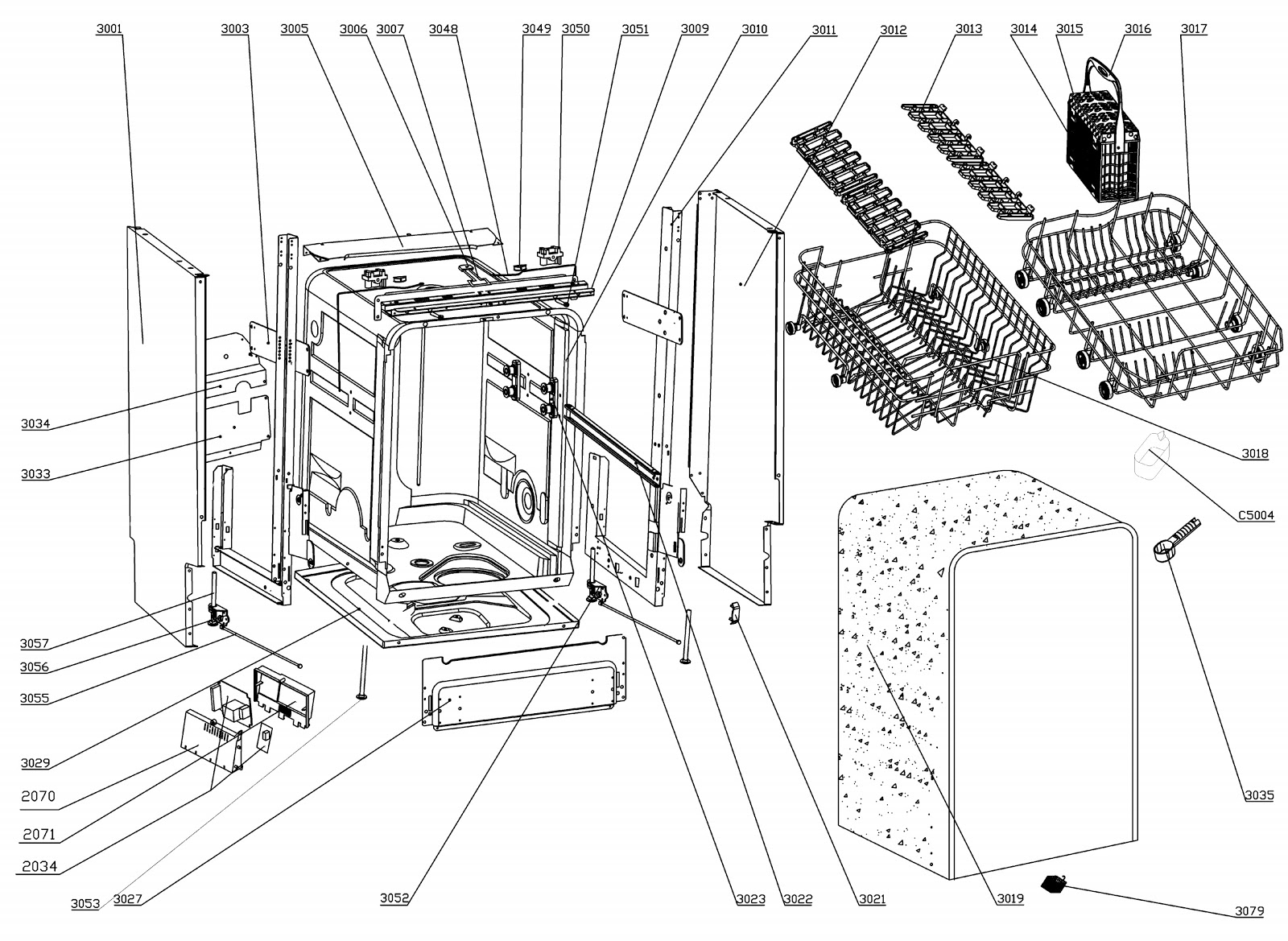 Teka dw7 57 dishwasher exploded view and wiring diagram
