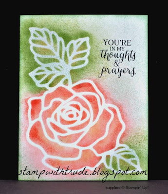 Stamp With Trude, Rose Garden Thinlits, Rose Wonder stamp set, Stampin' Up!, 2016 Occasions catalog, sneak peek, encouragement card, stenciled card