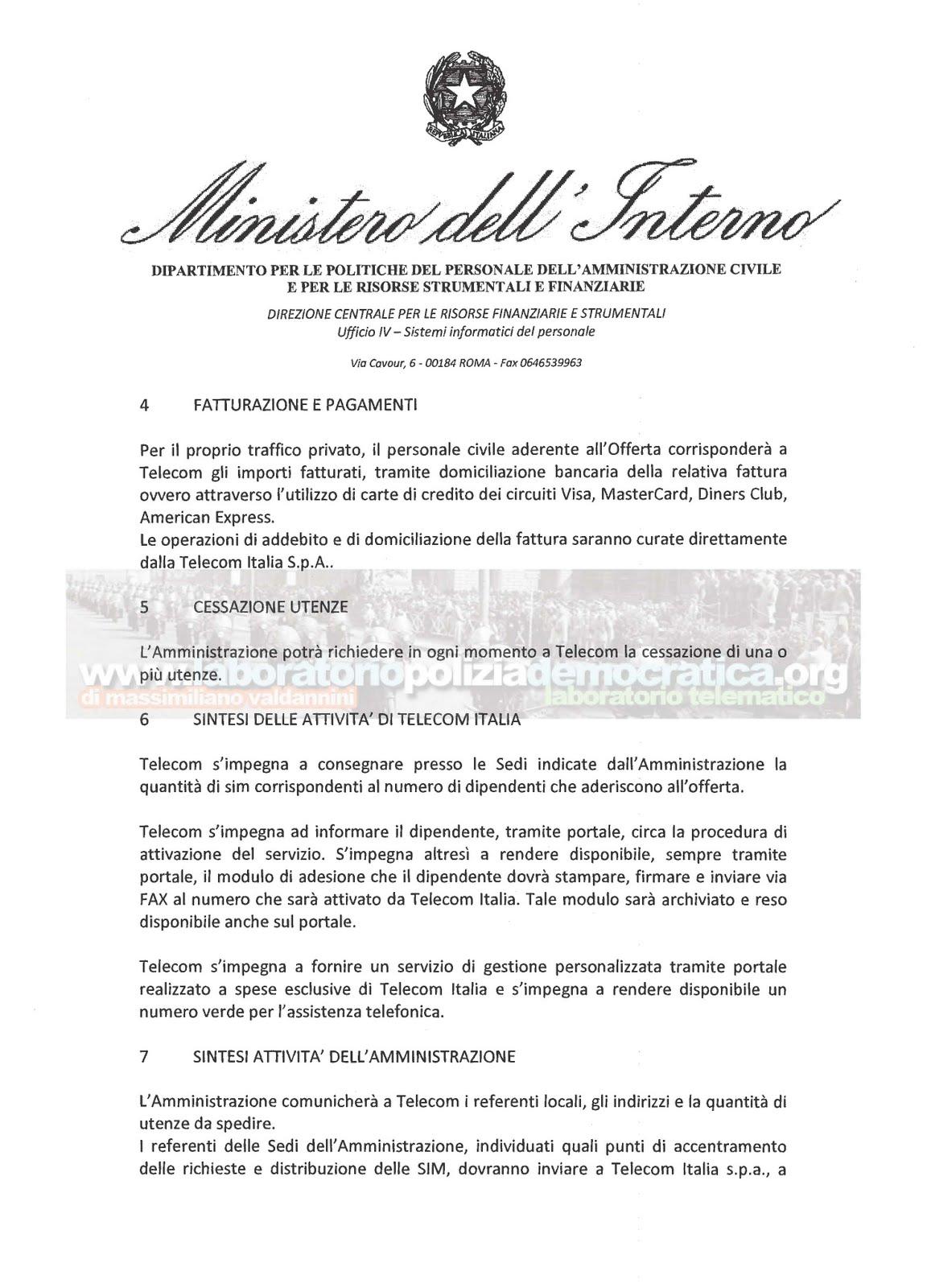 Lpd ministero dell 39 interno telefonia mobile ai for Ministero interno p iva