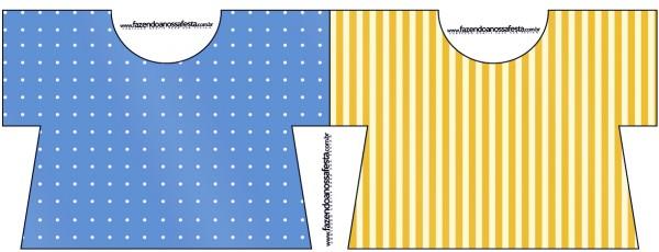 Tarjeta con forma de camisa de Corona Dorada en Azul y Amarillo.