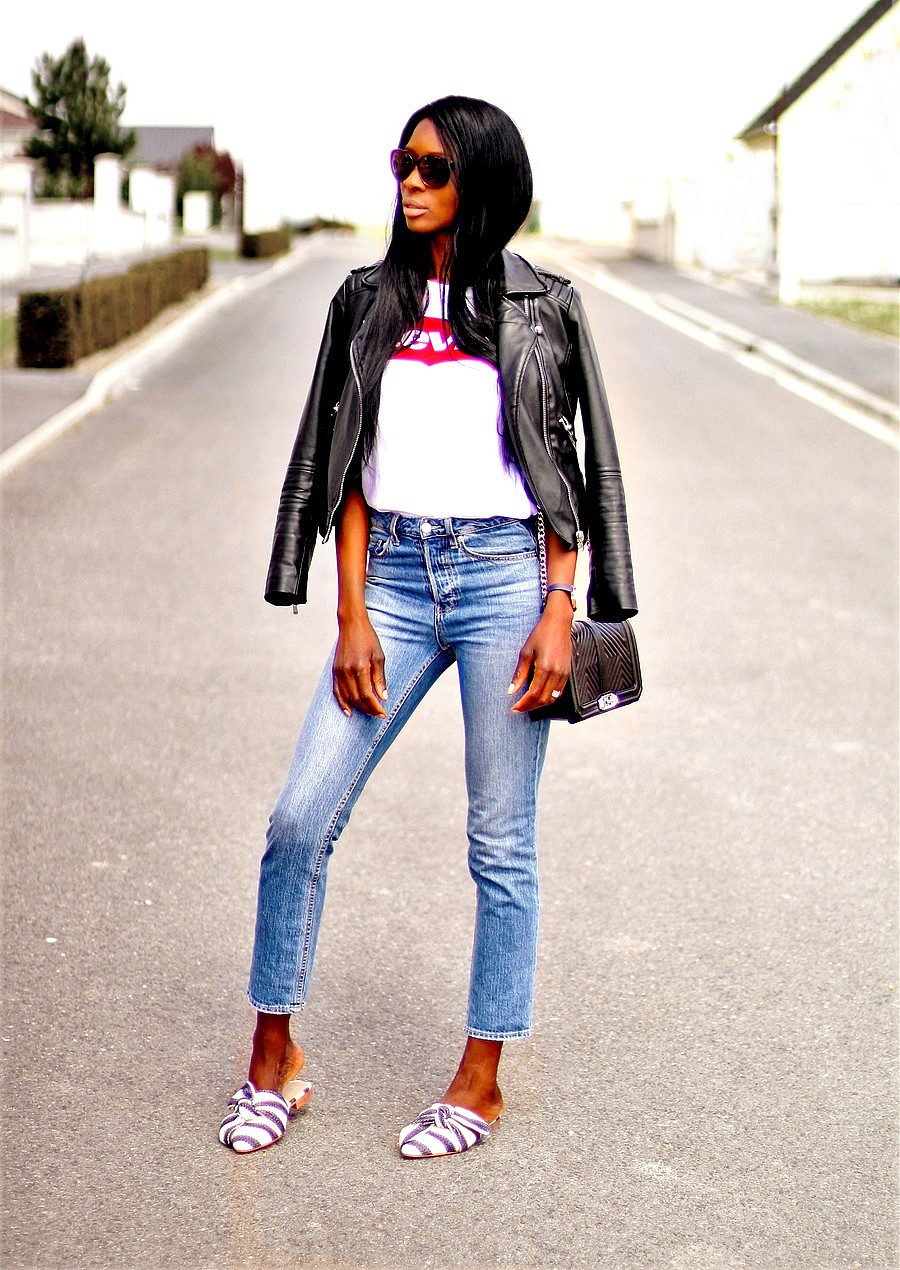 inspiration-look-tendance-casual-chic-mules-veste-cuir-jeans-taille-haute