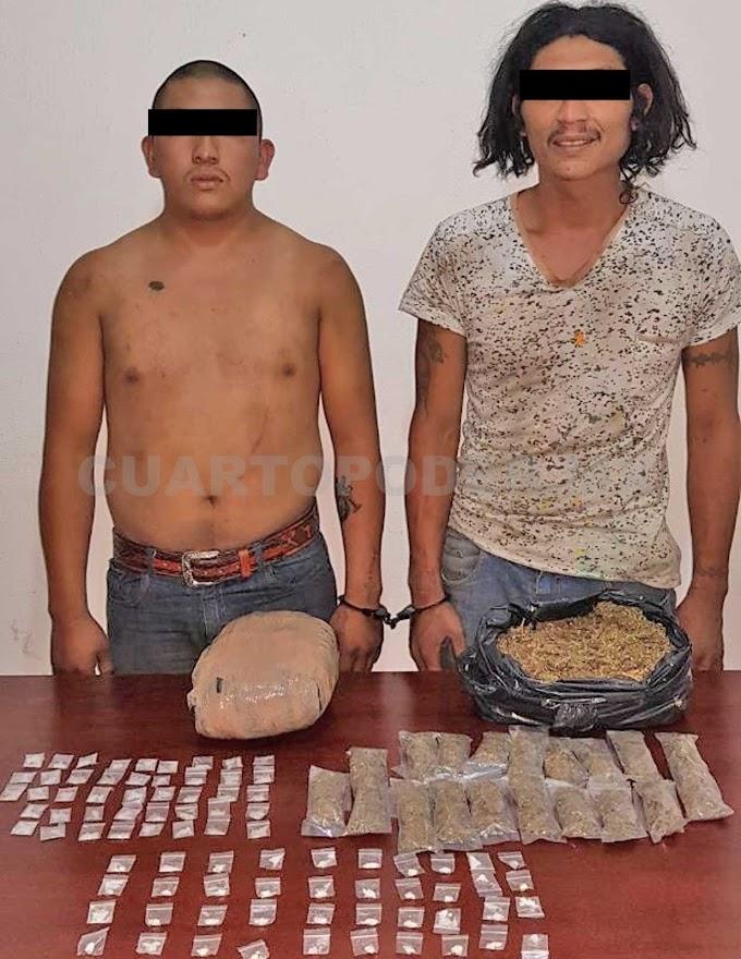 Detienen a dos con cristal, cocaína y marihuana