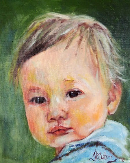 """Jake"", a baby's portrait in oils"