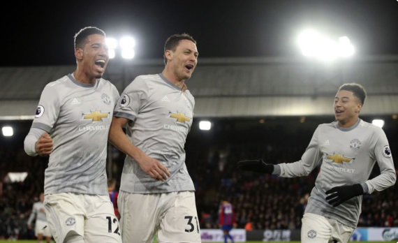Manchester United players celebrating a goal against Palace