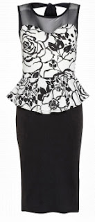 Quiz Cream and Black Textured Flower Print Dress