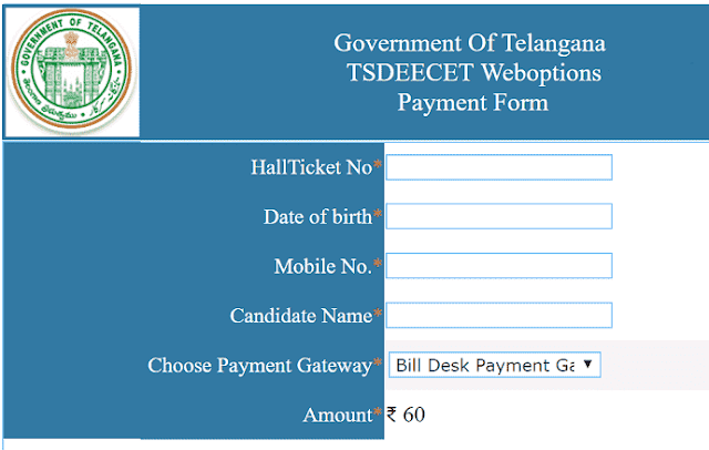 TS DEECET 2018,Online Payment Form, Web Options Entry