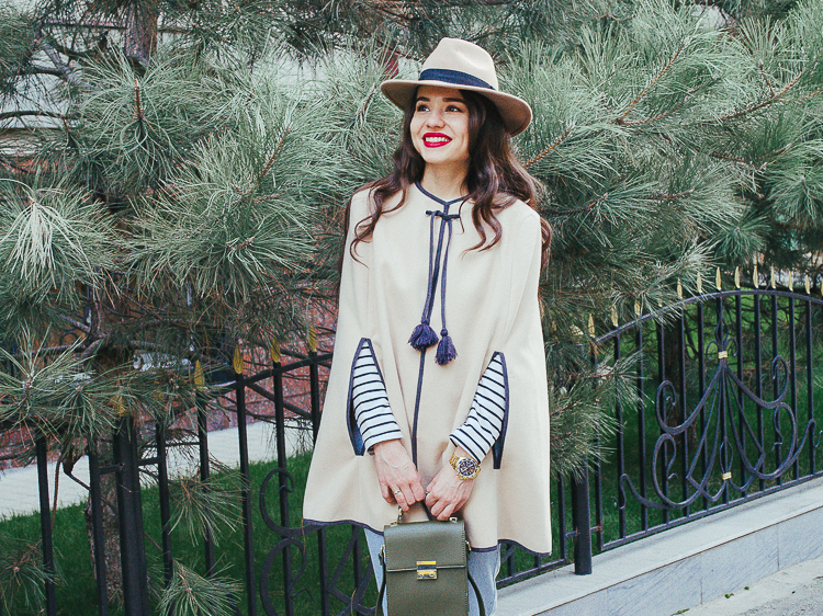 fashion blogger diyorasnotes cape asos blue denim zara bag hat stripe top shein