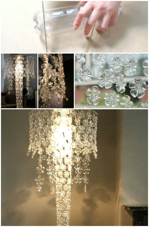 Plastic bottle chandelier crazzy craft cut off the bottom part of a plastic bottle and what do you see a perfect flower design this chandelier is very easy to make all you need to do is string mozeypictures Choice Image
