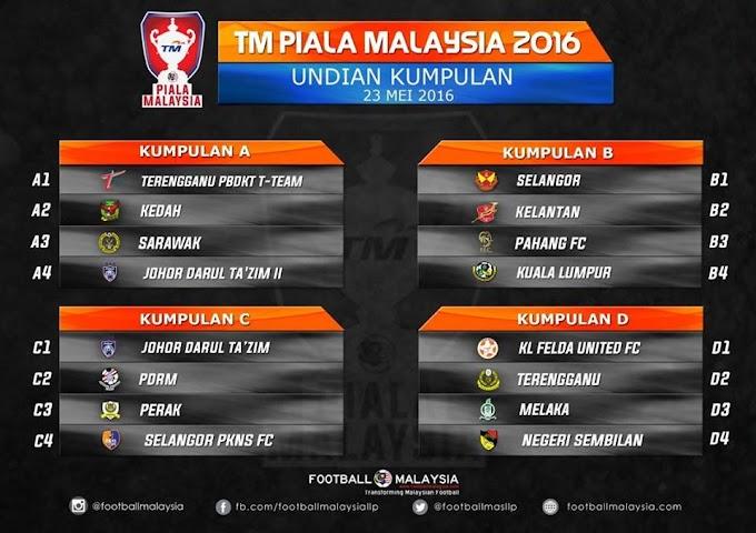 TM PIALA MALAYSIA 2016 : Undian penuh Kumpulan A, B, C dan D
