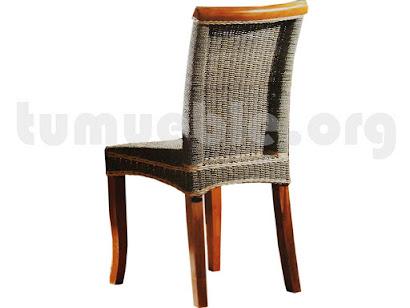 silla comedor en teca y rattan j995