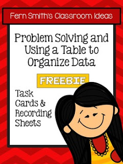 Fern Smith's Classroom Ideas FREE Problem Solving and Using a Table to Organize Data Task Cards, Recording Sheet and Answer Sheet at With No Common Core Teacherspayteachers.