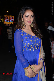Telugu Actress Tejaswi Madivada Pos in Blue Long Dress at Nanna Nenu Na Boyfriends Audio Launch  0009.JPG