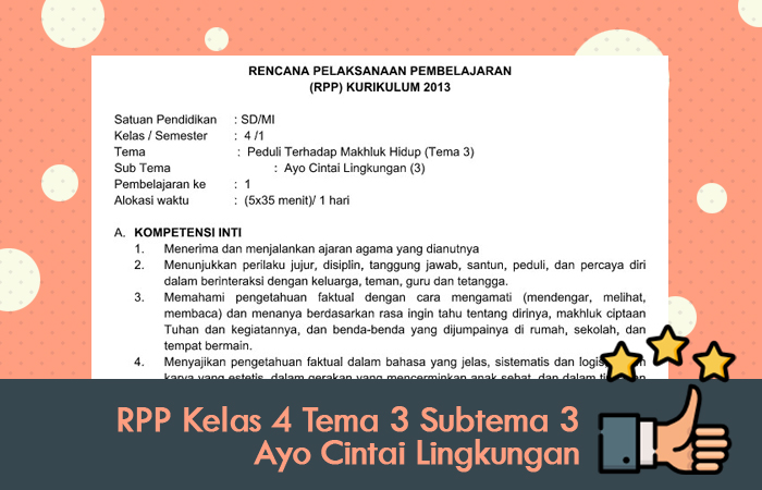 RPP Kelas 4 Tema 3 Subtema 3 Ayo Cintai Lingkungan