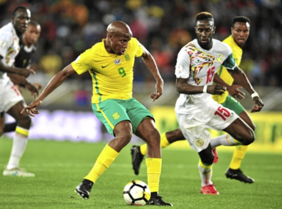 Lebogang Manyama in action for Bafana Bafana