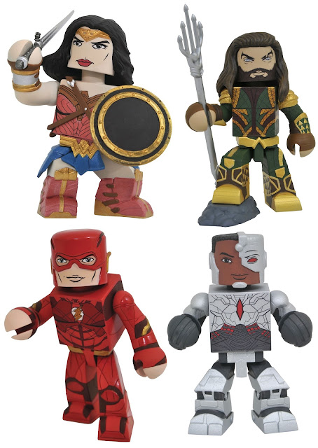 Justice League Movie Vinimates Vinyl Figures by Diamond Select Toys x DC Comics - Wonder Woman, Aquaman, The Flash & Cyborg