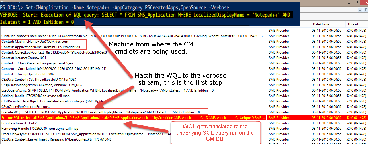DexterPOSH's Blog: PowerShell + SCCM : WMI Scripting