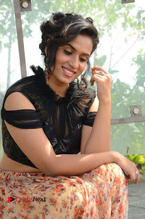 Actress Chetana Uttej Stills in Floral Long Skirt at Pichiga Nachav Movie Press Meet  0055.JPG