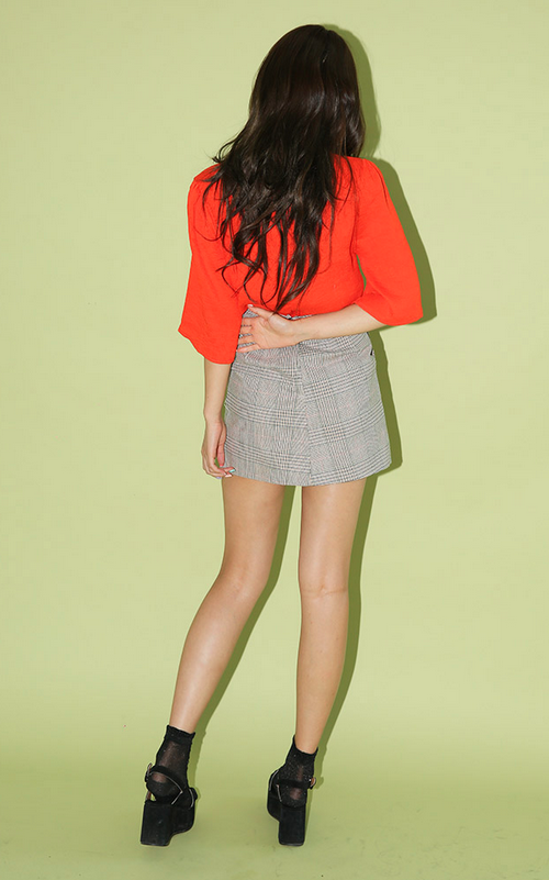 Check Print A-Line Mini Skirt