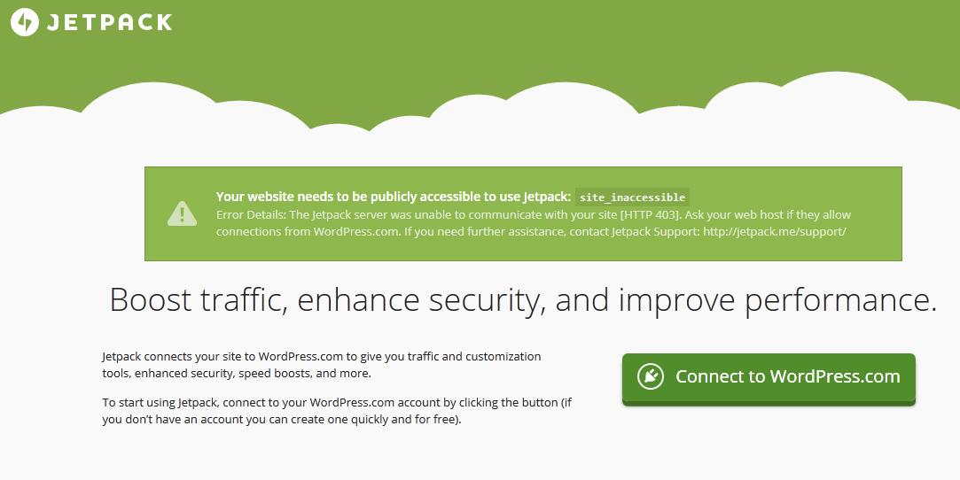 JetPack Unable To Connect To WordPress com? UnPlug It