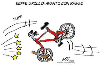 Frongia, Romeo, Giunta, Grillo, marra, Raggi, Roma, vignetta, satira