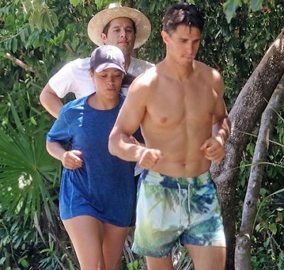 Newly engaged Gina Rodriguez and her fiancé Joe LoCicero sweat it out in Tulum.