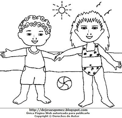 Dibujo de la estación de verano para colorear, pintaro imprimir  (Niños en la playa en pleno verano). Dibujo de verano para colorear hecho por Jesus Gómez