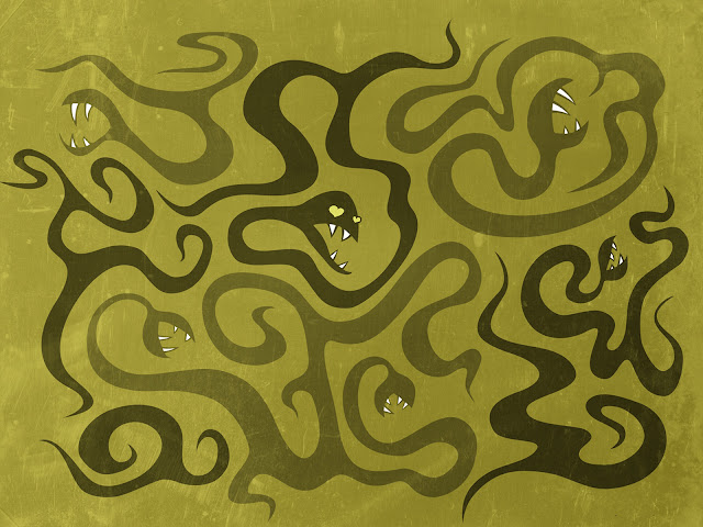 desktop wallpaper with a dark textured illustration of a funny snake with heart shaped eyes