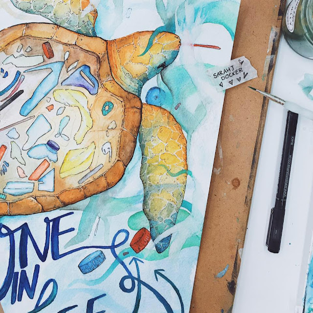 Sarah J Docker's watercolour of a sea turtle showing plastic bottles, straws, and pieces inside it