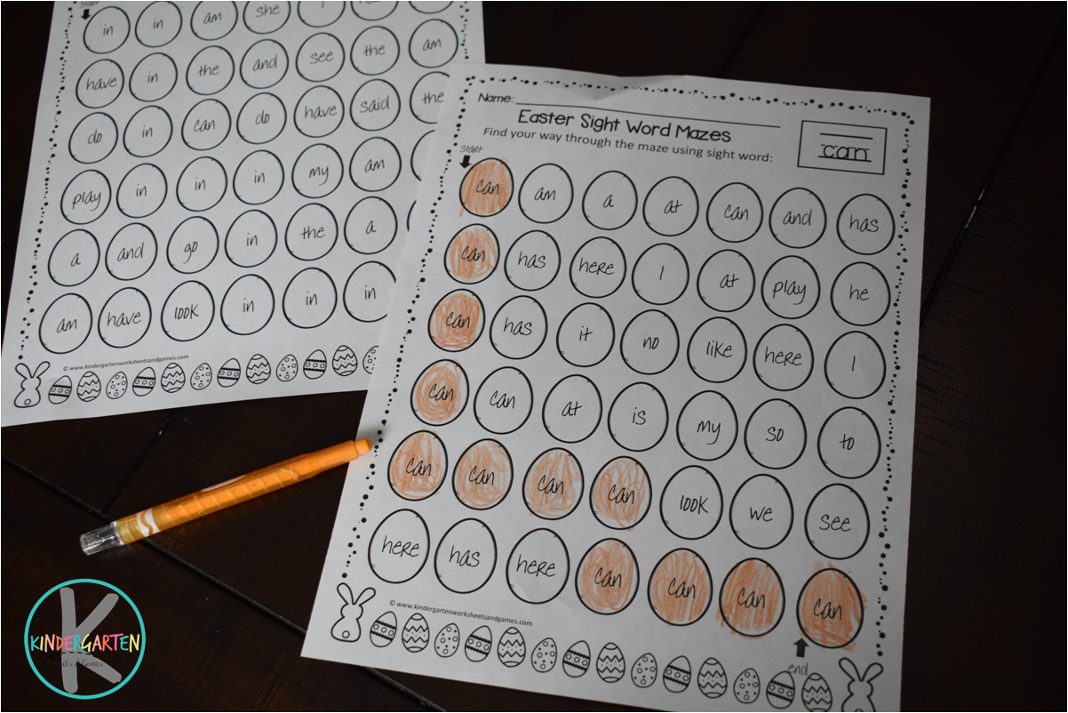 Kindergarten Worksheets and Games: FREE Easter Sight Word Mazes