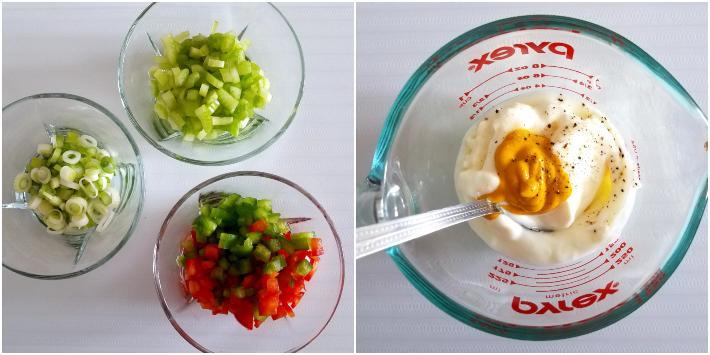 Ingredientes para el aderezo de la ensalada de papas