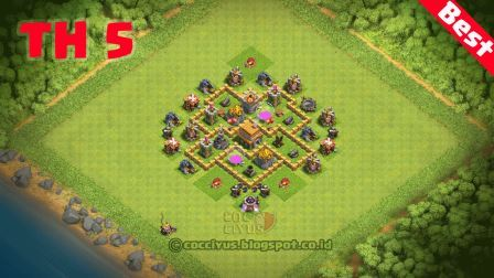 Formasi Pertahanan CoC TH 5 Terbaik Trophy Base