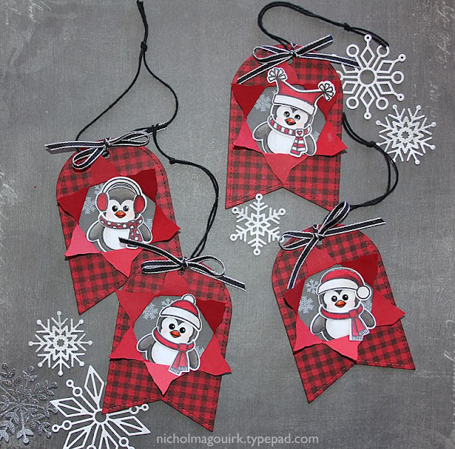 Sunny Studio Stamps Bundled Up Penguin Gift Tags by Nichol Magouirk.