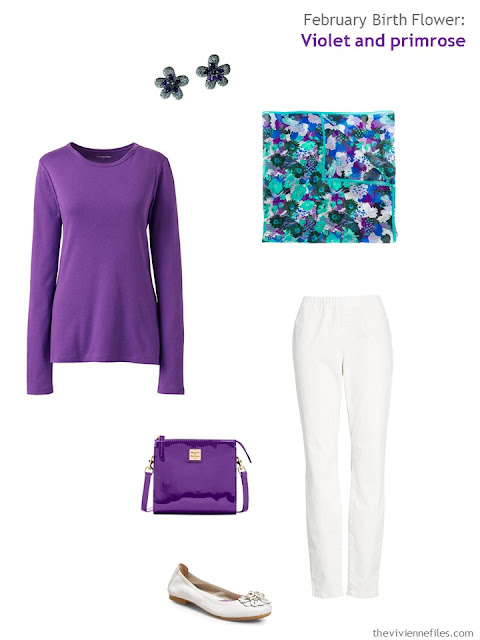 wearing violet with white