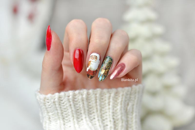mikolaj na paznokciach, renifer na paznokciach, naklejki zimowe, paznokcie, naklejki wodne