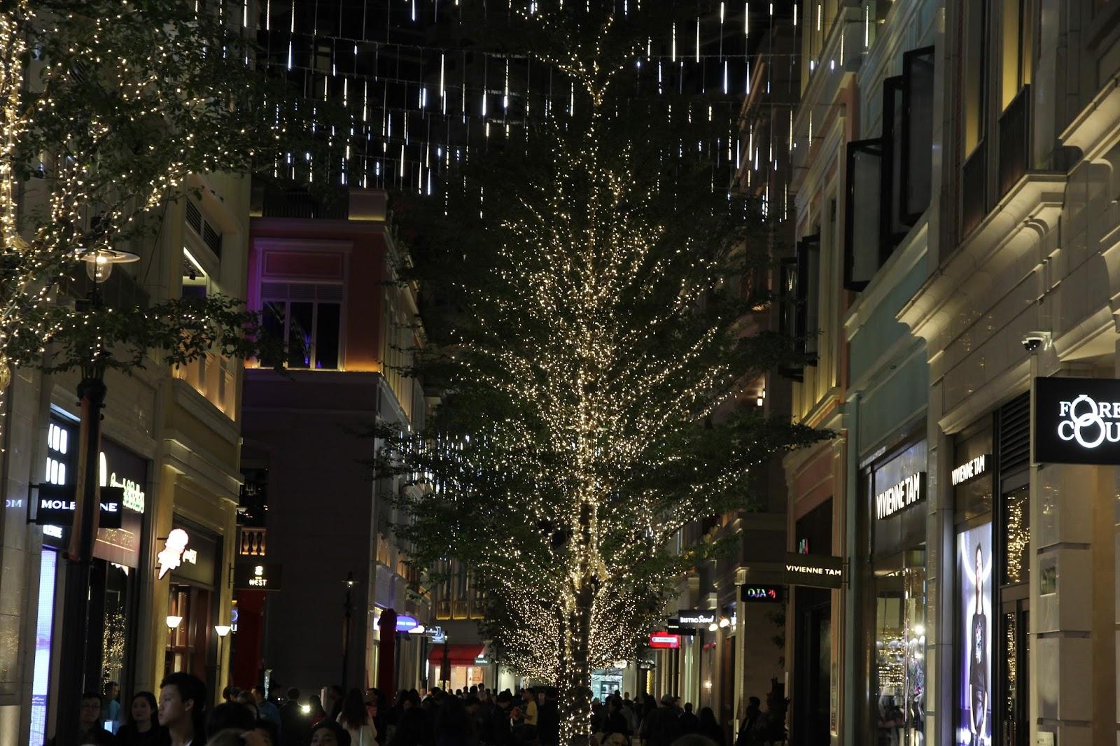 林公子生活遊記: 聖誕節燈飾 利東街 灣仔 走歐陸風格街道上點點燈光掛滿樹上