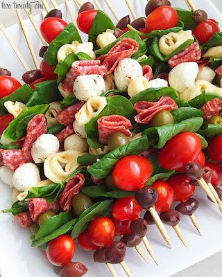 Antipasto Skewers from Two Twenty One are being featured for Low-Carb Recipe Love on Fridays (7-1-16) found on KalynsKitchen.com
