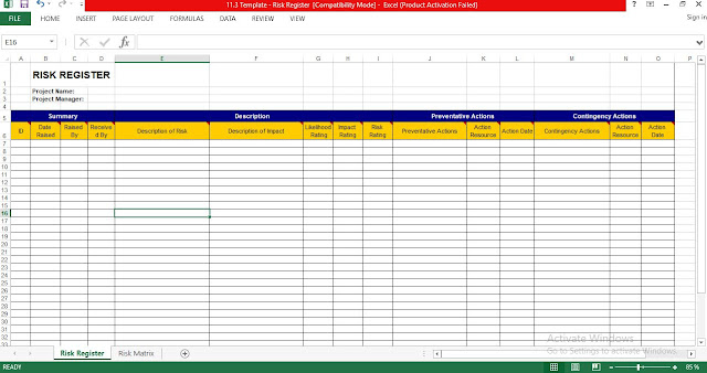 Risk Register Excel Template