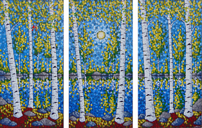 Oasis painting by artist aaron kloss, cardinals, triptych, pointillism, mn landscape painting