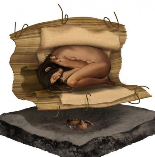 Una representación de cómo fue enterrada la mujer.