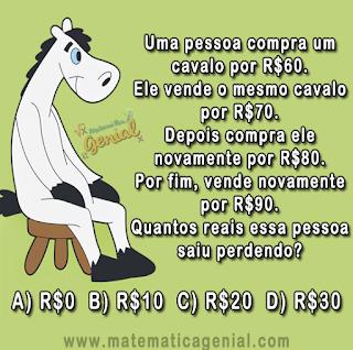 Uma pessoa compra um cavalo por R$60. Ele vende o mesmo cavalo...